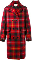 Gucci embroidered tartan overcoat - women - Viscose/Wool - 44
