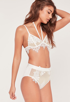 Missguided White Floral Applique Detail Mesh High Waisted Panties