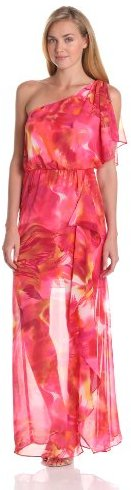 Adrianna Papell Women's Dresses Ruffle Floral One Shoulder Dress