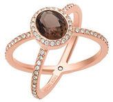Michael Kors Smoky Quartz & Crystal Crisscross Ring