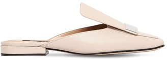 Sergio Rossi 20MM METAL PLAQUE LEATHER MULE FLATS