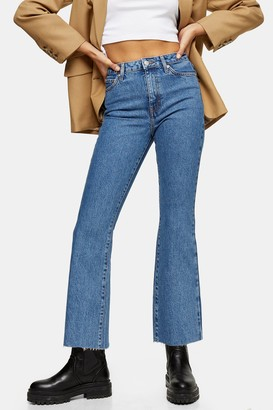 Topshop Womens Mid Blue Dree Flared Jeans - Mid Stone