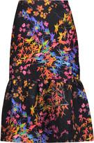 Saloni Diana printed cloqué midi skirt