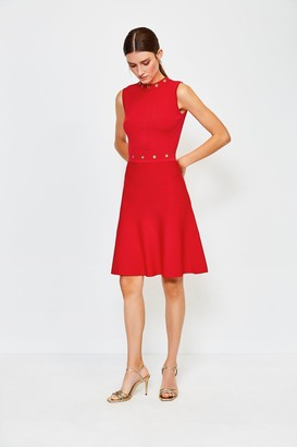 Karen Millen Eyelet Fit and Flare Knitted Dress
