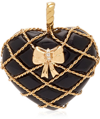 Have A Heart x MUSE Guita M Small Onyx Heart Charm with Center Diamond
