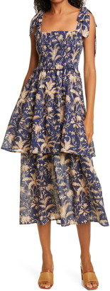 Rebecca Taylor Talita Botanical Print Smocked Metallic Sundress