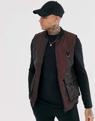 Jack and Jones Core reflected utility vest jacket in red