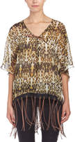 One Teaspoon Sheer Leopard Print Poncho