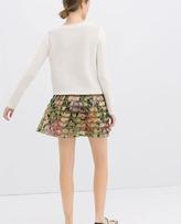 Zara Printed Pleated Skirt