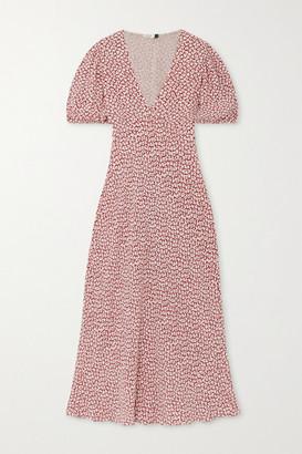 Rixo Poppy Printed Crepe Midi Dress - Brown