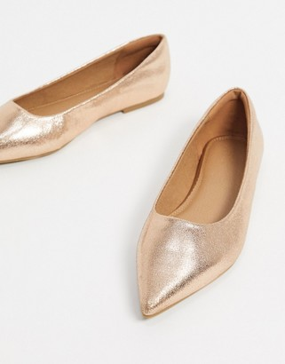 ASOS DESIGN Lucky pointed ballet flats in rose gold