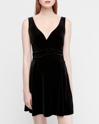 Express Velvet Plunge V-Neck Fit And Flare Dress