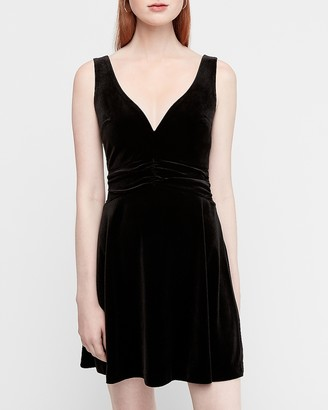 Express Velvet Plunge V-Neck Fit And Flare Dress