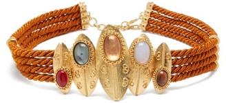 Sonia Petroff - Shield Braided Silk-cord Belt - Brown Multi