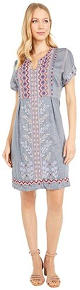 Johnny Was Amarynth Poncho Slip Dress (Denim Blue) Women's Clothing