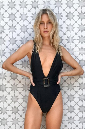 Nasty Gal Womens Black Belted Plunge Swimsuit