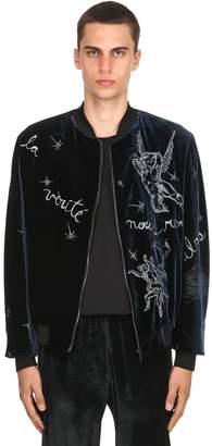 Triple Rrr Viscose & Silk Velvet Bomber Jacket