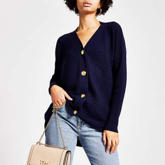 River Island Navy button front ribbed knit cardigan