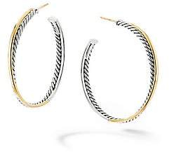 David Yurman Women's Crossover Extra-Large Hoop Earrings With 18K Yellow Gold