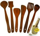 shophub Wooden Cookware Serving and Cooking Spoon Use For Kitchen - Set of 6 pcs -(FREE Wooden Mortar & Pestle)