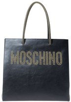 Moschino Studded Logo Leather Tote - Black