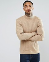Asos Muscle Fit Ribbed Turtle Neck Jumper In Merino Wool Mix