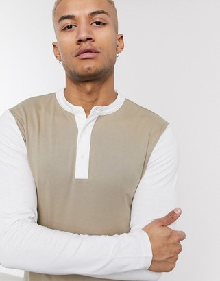 ONLY & SONS long sleeve grandad collar colour block top in stone