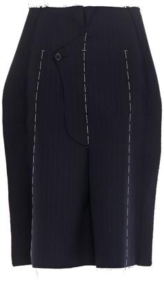 Maison Margiela Fold-over Frayed Herringbone Wool Skirt