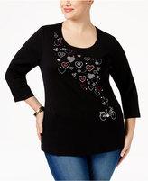 Karen Scott Plus Size Heart Graphic Top, Only at Macy's