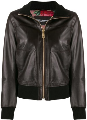 Dolce & Gabbana zip-up bomber leather jacket