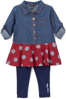 Tommy Hilfiger Blue & Red Polka Dot Tunic & Leggings - Infant
