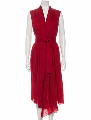 Adam Lippes V-Neck Midi Length Dress Red