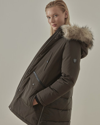 Vince Camuto Mixed-Material Hooded Coat