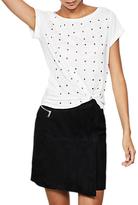 Mint Velvet Suede Wrap Mini Skirt, Black