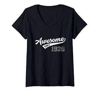Womens Awesome Since 1926 Old School Baseball 93rd Birthday Gift V-Neck T-Shirt