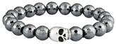 """Crucible Faceted Hematite Beaded Skull Stainless Steel Stretch Bracelet (8mm) - Gray (8.5"""")"""