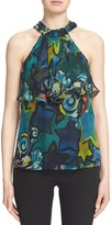 Versace Women's Ruffle Trim Print Silk Chiffon Halter Top