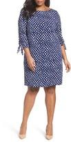 Tahari Plus Size Women's Tie Sleeve Matte Jersey Shift Dress