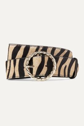 Loeffler Randall Leo Tiger-print Calf Hair Belt - Beige