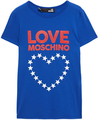Love Moschino Glittered Printed Stretch-cotton Jersey T-shirt