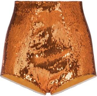 Dolce & Gabbana Orange Sequin Shorts