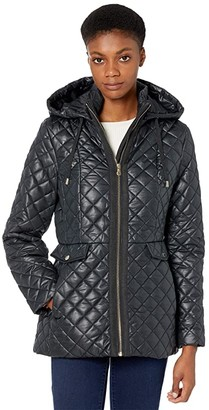 Kate Spade Quilted Short Jacket w/ Hood (Black) Women's Coat