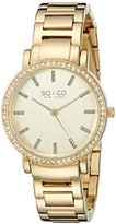 SO&CO New York Women's 5060.3 Madison Quartz Stainless Steel 23K -Tone Bracelet Link Bracelet Watch
