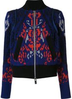 Sacai intarsia zipped cardigan - women - Nylon/Wool - 3
