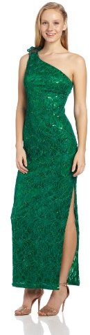 Adrianna Papell Women's One-Shoulder Lace Gown