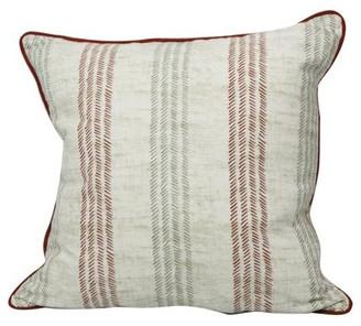Westex International Broken Stripes Brick Red Feather Filled Decorative Throw Pillow Cushio