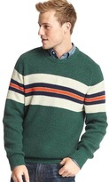 Gap Ribbed chest-stripe crewneck sweater
