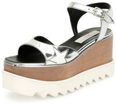 Stella McCartney Star Wooden-Platform Sandal, Indium/White