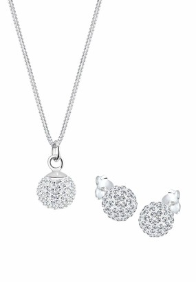 Elli Women's 925 Sterling Silver White Xilion Cut Swarovski Crystal Ball Jewellery Set with Chain and Earrings - 45cm length