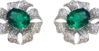 Ri Noor Floral Diamond & Emerald Stud Earrings